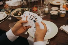This pair commissioned an artist to create playing card favours featuring hand-drawn portraits of their guests! Prince Edward, Wedding Favours, Fall Wedding, Real Weddings, Unique Gifts, Favors, How To Draw Hands, Playing Cards, Wedding Things