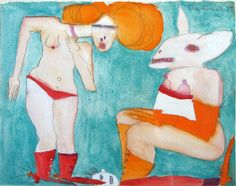 The Transsexual Electric Rabbit, Watercolour, Pat Douthwaite - The Scottish Gallery, Edinburgh - Contemporary Art Since 1842 Large Art, Contemporary Art, Disney Characters, Fictional Characters, Auction, Museum, Watercolor, Gallery, Drawings
