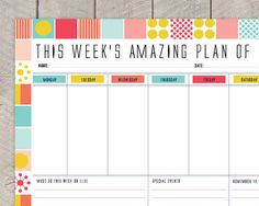 Printable Weekly Planner DIY Organiser Mid by SamOsborneStore