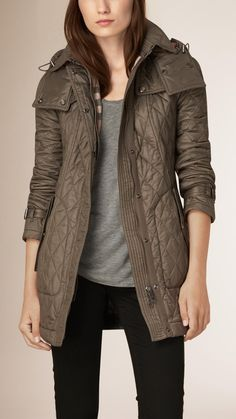 Burberry Diamond Quilted Field Jacket With Panel Detail featuring ... : burberry quilted belted jacket - Adamdwight.com