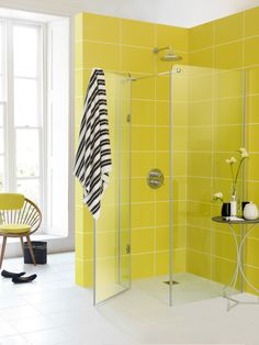 Citrus fresh - the colour of the moment. Add some zest to your bathroom with an Impey wetroom frameless enclosure. www.impeyshowers.com
