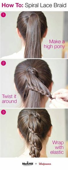 Holiday hair takes a new twist with an easy approach to this professional style. Create a spiral lace braid yourself: Make high ponytail. Pull a section from the top, braid it, and secure it wit (Coiffure Pour Travailler) Holiday Hairstyles, Hairstyles For School, Diy Hairstyles, Pretty Hairstyles, Hairstyle Tutorials, Simple Hairstyles, Easy Hairstyle, Wedding Hairstyles, Toddler Hairstyles