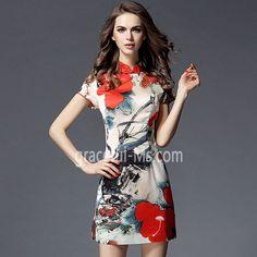 2016 Retro National Wind Printing Slim Cheongsam Dress