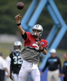 Carolina Panthers' Derek Anderson throws downfield at practice during Carolina Panthers Training Camp at Wofford College in Spartanburg, SC on Monday, August Derek Anderson, Greg Olsen, August 10, Carolina Panthers, Super Bowl, Football Helmets, Nfl, College, Training