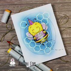 """Happy Thursday everyone! I'm Allison Cope and I'm here today to share the full card process and coloring up of the sweet digital image called """"Ha-Bee Birthday"""" from Gerda Steiner Designs.I'm using some Copic Markers and the Copic Airbru. Fabric Crafts, Paper Crafts, Tea Riffic, Bee Cards, Bee Theme, Stamp Making, Card Tutorials, Digital Stamps, Cardmaking"""