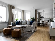 Open Home: A family apartment decorated in neutrals Family Apartment, Neo Traditional, Scandinavian Interior, Stockholm, Open House, Dining Bench, Urban, Contemporary, Living Room