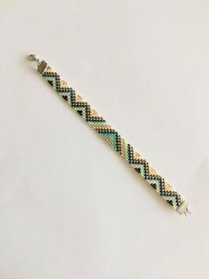 Items similar to Delica Beaded Bracelet on Etsy Beaded Braclets, Bead Loom Bracelets, Seed Bead Earrings, Beaded Earrings, Beaded Jewelry, Loom Bracelet Patterns, Beading Patterns, Bead Loom Designs, Loom Bracelets