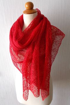 Linen Scarf Lace Shawl Knitted Natural Summer Wrap in by LaimaShop