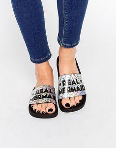 TheWhiteBrand Irredescent Real Mermaid Slider Flat Sandals