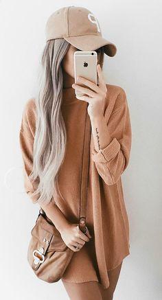 Camel Knit Dress // Cap // Camel Shoulder Bag Source