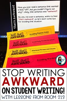 Awkward Wording: Help Your Students Write Strong, Clear Sentences Middle and high school English teachers: help your students avoid awkward wording with these lesson plans. Writing Lessons, Teaching Writing, Writing Activities, Teaching English, Writing Strategies, Essay Writing, Teaching Tools, Teaching Ideas, English Activities