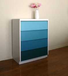 Ocean Waves Ombre Painted Wood Dresser. Pantone. Teal. Beach House. Blue Green. via Etsy