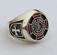 Knights Templar Ring Sterling Silver 925 Masonic / by silverzone88