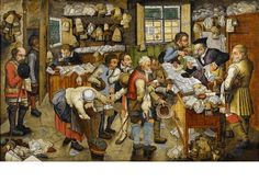 Pieter Brueghel the Younger (Antwerp 1564-1638), 'The Payment of the Tithes',  signed '.P.BREVGHEL.' (lower left), oil on panel, 54.2 x 86.6 cm. (21 3/8 x 34 1/8 in.), the reverse stamped with the coat-of-arms and the hands of the City of Antwerp.