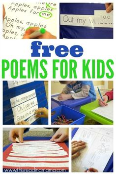 FREE Poems for Kids Seasonal Poetry Packs that encourage reading with fluency, rhyming, comprehension strategies, and writing This Reading Mama Kindergarten Poetry, Teaching Poetry, Teaching Reading, Reading Skills, Teaching Ideas, Guided Reading, Teacher Resources, Reading Workshop, Reading Room
