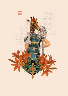 Collage giraffe image by Enrique Núñez. #collage #collageart #graphicdesign