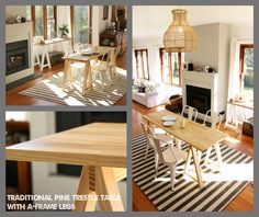 www.plankandtrestle.com.au - Traditional Pine dining trestle table with A-frame legs