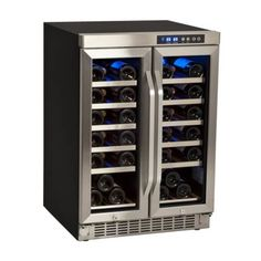 EdgeStar 36 Bottle Built-In Dual Zone French Door Wine Cooler Video Image