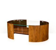 Cocktail Table, Hyedua Crown Veneer, Louro Preto Veneer, Tempered Glass.
