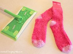 Swing by your local dollar store and pick up a pair of chenille socks and the cheapest Swiffer mop you can find.