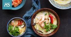 Chilillä tuliseksi silattu, kalaliemestä suolainen ja limetistä kirpeä kookosliemi sopii ihanasti thaimaalaisia makuja rakastavan hotpotiksi. Soup, Ethnic Recipes, Soups