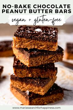 These No-Bake Chocolate Peanut Butter Bars are vegan, gluten-free, and made up of 5 ingredients. These also have no added oils and can be made fully refined sugar-free. Healthy Vegan Desserts, Delicious Vegan Recipes, Vegan Sweets, Healthy Dessert Recipes, Vegan Snacks, Easy Desserts, Real Food Recipes, Baking Recipes, Delicious Desserts