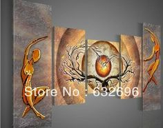 100% free shipping 5 piece of modern hand-painted oil painting abstract two gold love tree canvas art deco