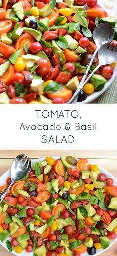 Tomato, Avocado & Basil Salad is a simple, flavorful healthy recipe. Gluten-free, dairy-free and paleo-friendly!