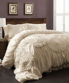 Lush Decor Belle Bedding Azalee Romantic Ruffled 5 Pc Comforter Bedding Set  Comforter