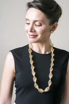 Long INFINITY Wire Crochet Gold Necklace - Yooladesign