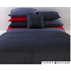 @Overstock - Dress up your bedroom with this All American Tommy Hilfiger denim comforter. Constructed of 100-percent cotton, this dark blue denim comforter can be machine washed for easy care and maintenance and will look right at home with any decor. http://www.overstock.com/Bedding-Bath/Tommy-Hilfiger-Twin-size-All-American-Denim-Comforter/5665515/product.html?CID=214117 $89.99