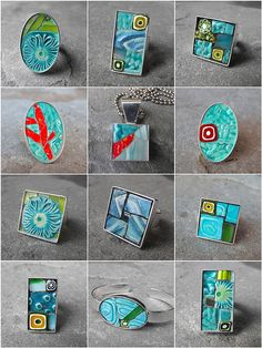 Mosaic jewelry - blues and greens by Kraken Mosaics [Eve Lynch], via Flickr