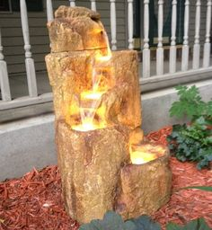 A Beautiful Photo Of Our Flowing Rock Fountain With Light From One Of Our  Customers.