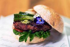 Rosemarie. Lamb Burger with flowers and spring onions. Ludwig [Das Burger Restaurant], Innsbruck, Austria