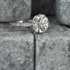 Vintage Diamond Solitaire Engagement Ring by EstateDiamondJewelry, $28,000.00