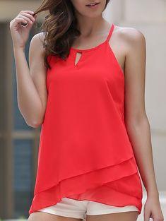 Stylish Sleeveless Spaghetti Strap Layered Chiffon Red Tank Top For Women