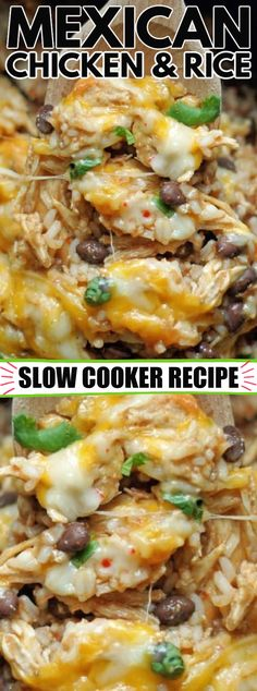 Crockpot Dishes, Crock Pot Cooking, Crockpot Recipes, Healthy Recipes, Delicious Recipes, Yummy Food, Mexican Chicken And Rice, Slow Cooker Mexican Chicken, Chicken Rice