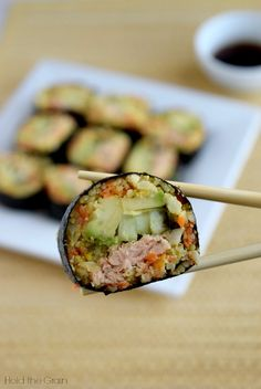 4 Cycle Fat Loss - Ginger Salmon Nori Rolls: A gluten free, soy free, low carb alternative to sushi! Discover the World's First & Only Carb Cycling Diet That INSTANTLY Flips ON Your Body's Fat-Burning Switch Canned Salmon Recipes, Sushi Recipes, Seafood Recipes, Paleo Recipes, Asian Recipes, Low Carb Recipes, Cooking Recipes, Free Recipes, Bariatric Recipes