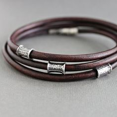Mens Brown Leather Wrap Bracelet Silver Tube by LynnToddDesigns