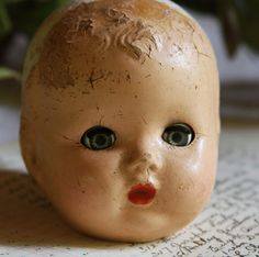 Vintage Composition Doll Head Creepy Eyes Scary by VintageSupplyCo