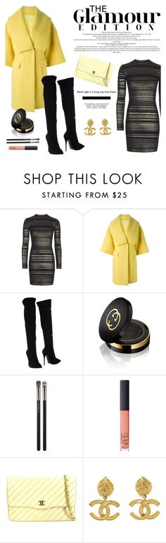 """""""Sun shine and dark clouds."""" by living-on-the-catwalk ❤ liked on Polyvore featuring Topshop, Versace, Giuseppe Zanotti, Gucci, MAC Cosmetics, NARS Cosmetics and Chanel"""