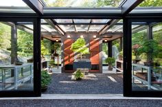 glass garden shed modern with sconces contemporary garage doors and openers Garage Design, House Design, Contemporary Garage Doors, Modern Greenhouses, Greenhouse Gardening, Greenhouse Ideas, Modern Garden Design, Modern Design, Modern Courtyard