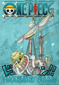 Thousand Sunny 2 years later One Piece series: Luffy Zoro Nami Usopp Sanji Chopper Robin Franky Brook