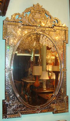 Stunning 19th century Venetian mirror Venetian Glass, Venetian Mirrors, Mirror Painting, Mirror Mirror, Italian Colors, European Style Homes, Vintage Mirrors, Beautiful Mirrors, Mirrored Furniture