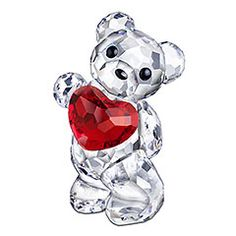 Kris Bear - A Heart for You                Capture and express affection with this adorable and sweet faceted clear crystal Kris Bear. Holding out a Light Siam crystal heart full of love, he looks innocent with gleaming eyes and nose in Jet crystal.