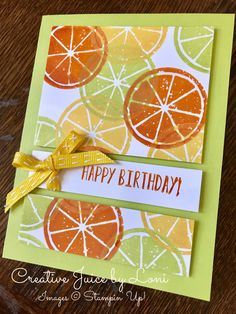 I'm a sucker when it comes to a stamp set and coordinating punch…but then Stampin' Up! made the Lemon Zest stamp set with citrus fruit and this was a NO BRAINER for my Creative Ju… Quick Cards, Cute Cards, Cards Diy, Craft Cards, Birthday Greeting Cards, Greeting Cards Handmade, Card Birthday, Penny Black, Scrapbook Cards