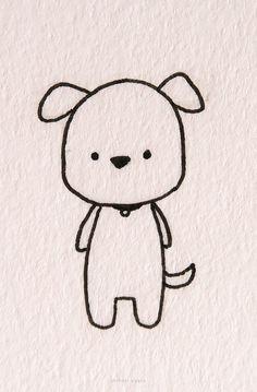 20 Easy Dog Drawing Ideas Easy Chibi Drawings, Easy Animal Drawings, Mini Drawings, Pretty Drawings, Realistic Drawings, Corgi Drawing, Doodle Art Drawing, Drawing Lessons, Drawing Ideas