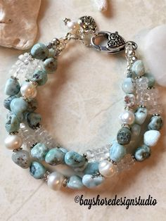 Triple strand bracelet , larimar bracelet , pearl and crystal quartz bracelet Bracelet Labradorite, Strand Bracelet, Jewelry Making Beads, Wire Jewelry, Jewelry Crafts, Jewelry Bracelets, Jewelry Ideas, Jewelry Making, Handmade Jewelry