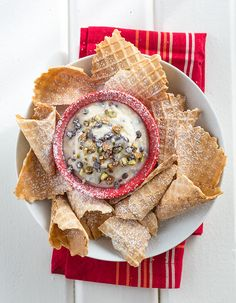 Deconstructed cannoli! Serve pieces of crispy waffle cones alongside this easy dip with all the goodness of classic cannoli filling.
