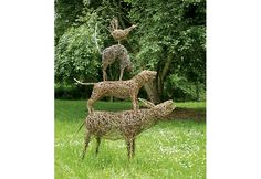 A pack of six Art Cards or Post Cards depicting a Willow Sculpture inspired by the Brothers Grimm Fairy Tale of the Musicians of Bremen. The animals are life-size consisteing of a donkey, dog, cat and a cockerel.
